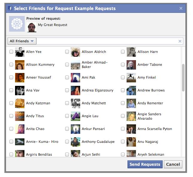 Facebook + Drupal — sending invitations to friends