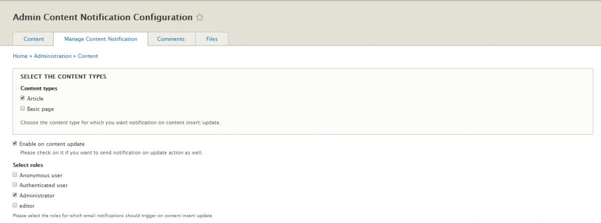 Admin Content Notification Drupal module