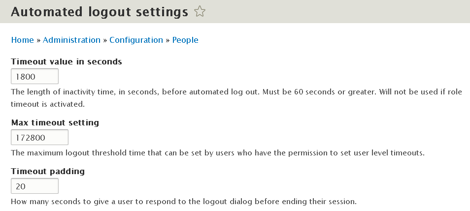 Automated Logout Drupal module - settings for time