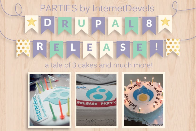 Drupal 8 release parties by InternetDevels: a tale of 3 cakes and much more!