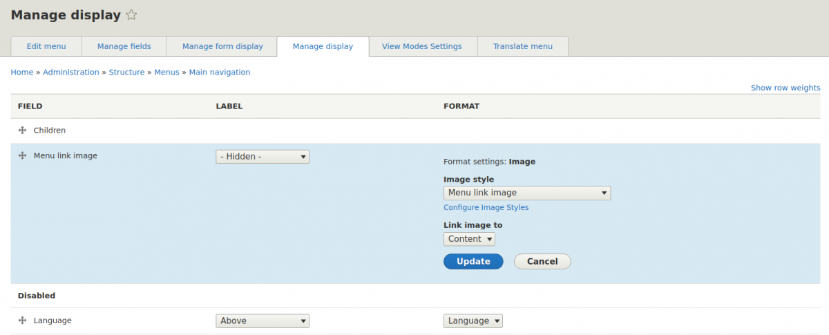 Configuring an image field for a menu link in Drupal 8