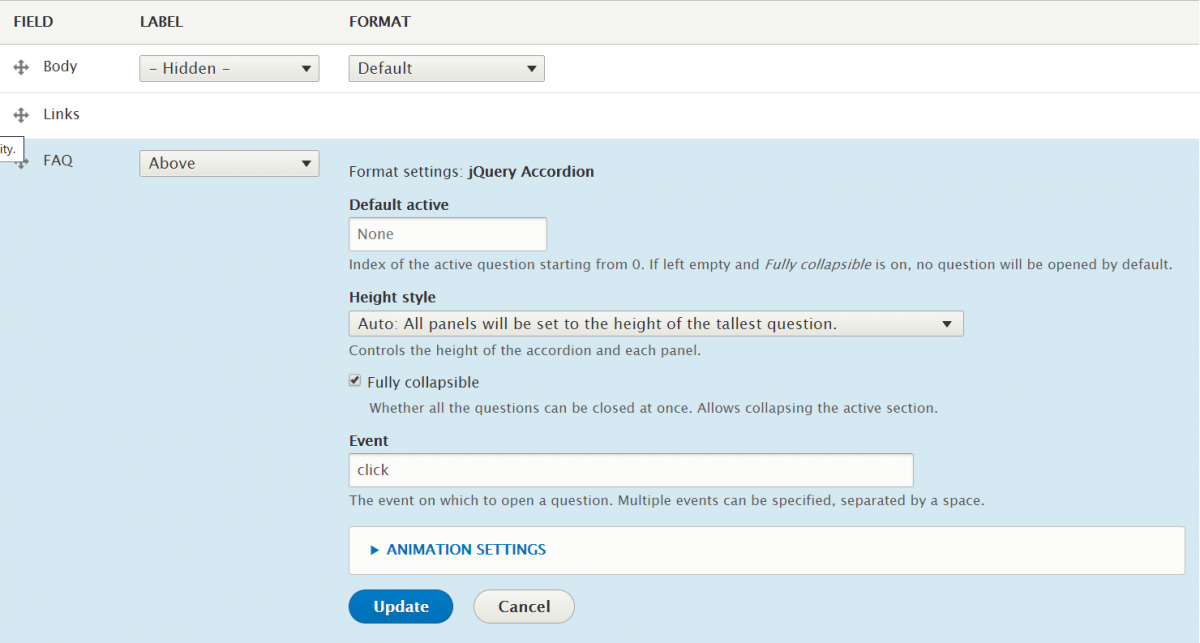Configuring jQuery accordion in Drupal 8 to show all FAQ closed