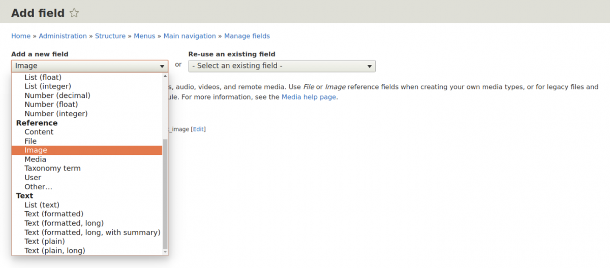 Creating an image field for a menu link in Drupal