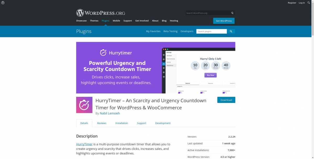 HurryTimer – An Scarcity and Urgency Countdown Timer for WordPress & WooCommerce