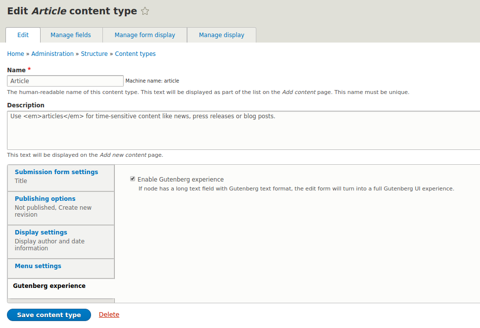 Enable Gutenberg editor for content type in Drupal 8