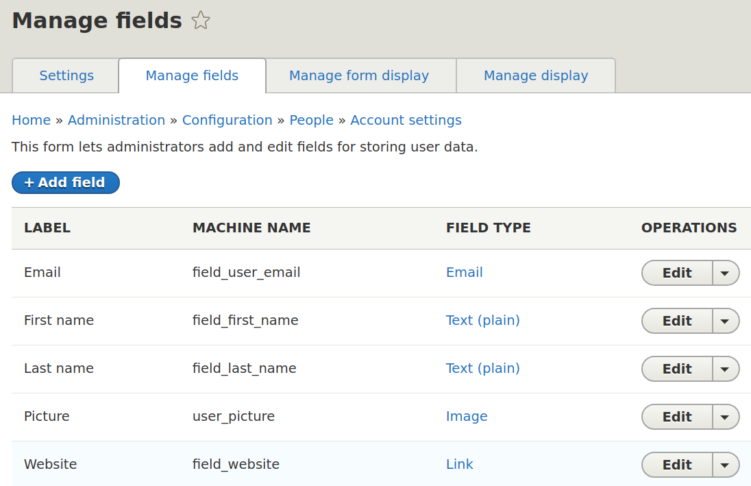 Managing fields in Drupal 8 profiles
