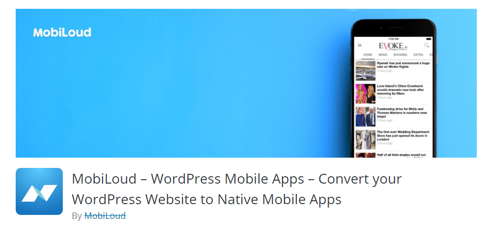 helps you convert a WordPress site into a native mobile app for iOS and Android phones