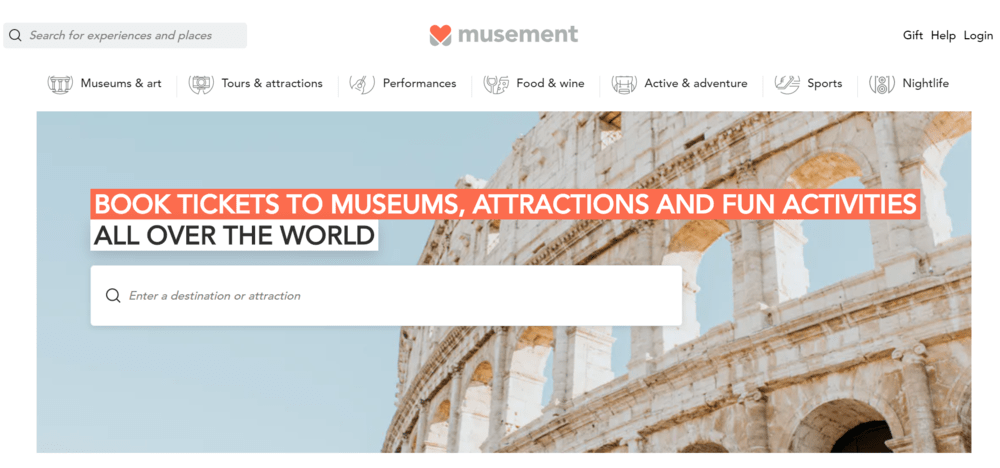 Musement - online travel marketplace examples