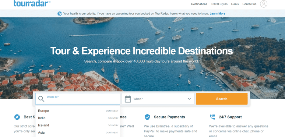 TourRadar - online travel marketplace examples