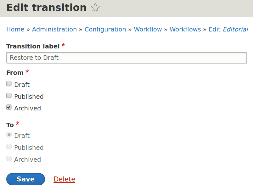 Transition between states in Drupal 8 content workflows