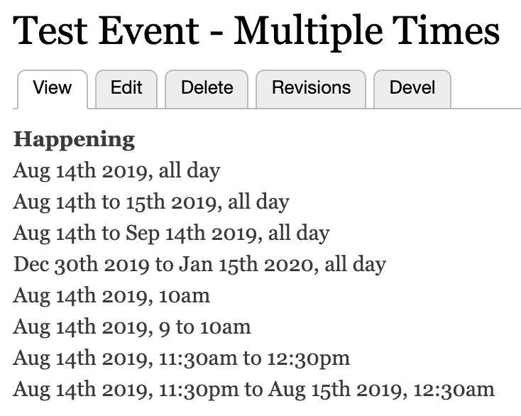 Various date and time formats with the Smart Date module in Drupal 8