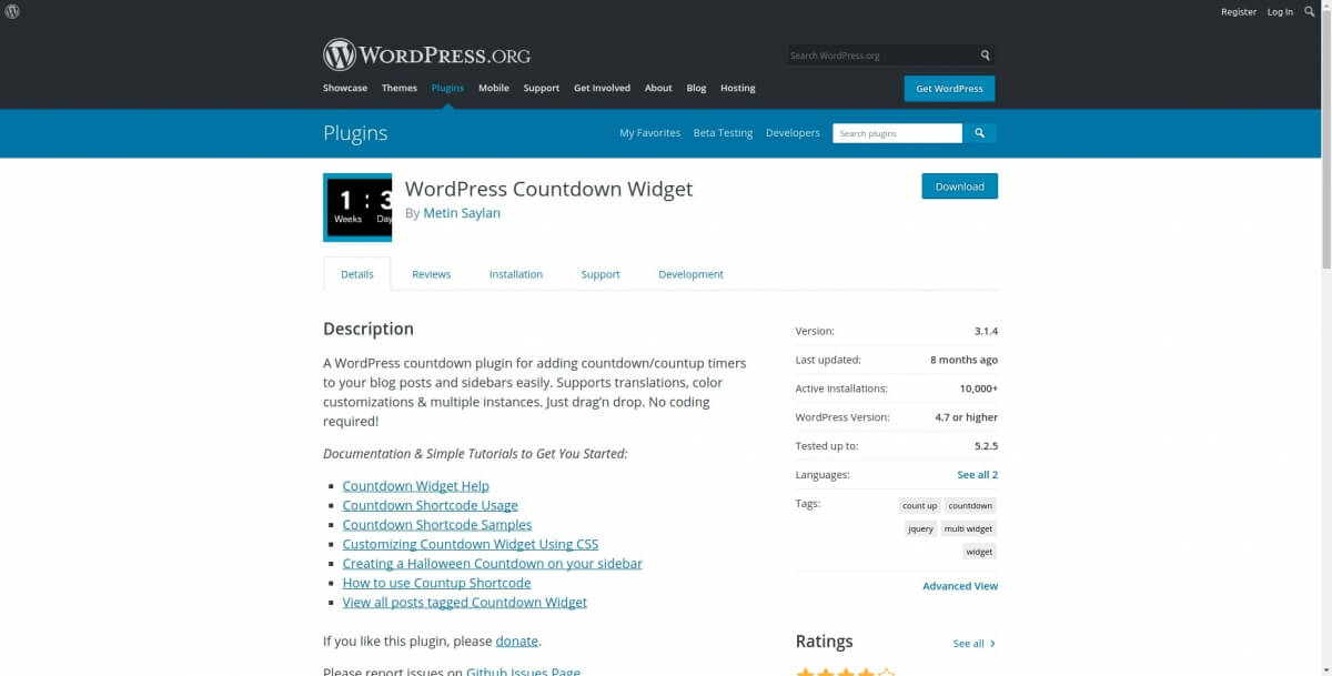 WordPress Countdown Widget