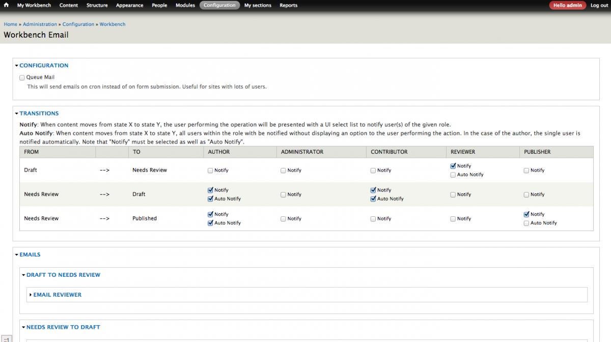 Workbench Email Drupal module